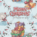 Seamless texture of New Year and Christmas with the lamb, gifts, bells and lanterns Stock Photography