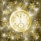 Seamless texture New year clock and fireworks vector. New year clock and fireworks vector Seamless texture gold background vector illustration stock illustration