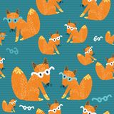 Seamless texture with a nice little red fox in gla Royalty Free Stock Photos