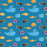 Seamless texture with nice sea exotic fish Royalty Free Stock Photos