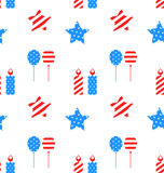 Seamless Texture with Objects for Independence Day. Illustration Seamless Texture with Objects for Independence Day of America, US National Colors - Vector Royalty Free Stock Photography