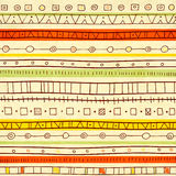 Seamless texture of old paper and ethnicity patterns Royalty Free Stock Photos