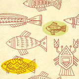 Seamless texture of old paper and ethnicity patterns Royalty Free Stock Image