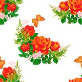 Seamless texture  orange  Roses  and butterfly vintage  festive  background vector illustration editable. Hand draw Stock Photography