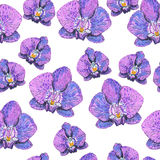 Seamless texture with orchids painted markers Stock Photo