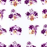 Seamless texture Orchids purple-white Spotted  Phalaenopsis beautiful flowers vintage  vector illustration closeup  editable Royalty Free Stock Photo