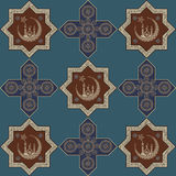 Seamless texture with an oriental topic 25. Abstract seamless pattern from ramadan symbols. Vector illustration Royalty Free Stock Images