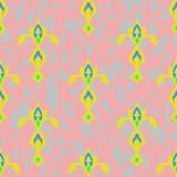 Seamless texture. Ornament of yellow - green images on a pink - gray background royalty free illustration