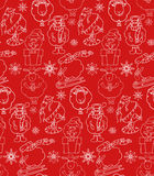 Seamless texture with outline Christmas holiday cartoon sheep Royalty Free Stock Photography