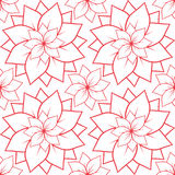 Seamless texture with outline of pink lotus flowers. Stock Image