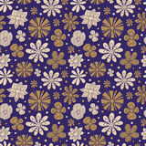Seamless texture of painted flowers on a purple Stock Images