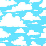 Seamless texture painted handmade clouds. Vector seamless pattern. Hand painted handmade clouds white clouds on a blue background Stock Images