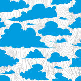 Seamless texture painted handmade clouds. Vector seamless pattern. Hand painted handmade clouds white clouds on a blue background Royalty Free Stock Images