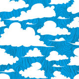 Seamless texture painted handmade clouds. Vector seamless pattern. Hand painted handmade clouds white clouds on a blue background Royalty Free Stock Photo