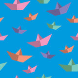 Seamless texture with paper boats Stock Photos