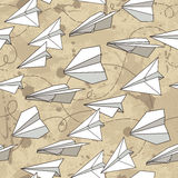 Seamless texture with paper planes. Stock Images
