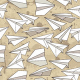Seamless texture with paper planes. Royalty Free Stock Images