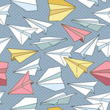 Seamless texture with paper planes. Stock Photography