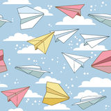 Seamless texture with paper planes. Royalty Free Stock Photo