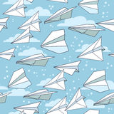 Seamless texture with paper planes. Stock Image