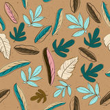 Seamless texture with pastel colors leaves. Royalty Free Stock Images