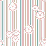 Seamless texture pattern with flowers on a striped background Stock Photo
