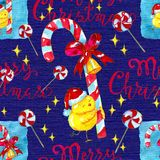 Seamless texture pattern with happy chicken in Santa hat and sweets on blue. Christmas and New Year seamless background for greeting cards, posters, invitations Stock Images