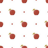 Seamless texture with a pattern of red apples Stock Photos