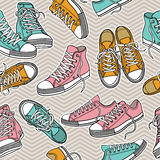 Seamless texture pattern with sneakers Stock Images