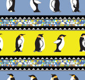 Seamless texture with penguins. And a triangular design  Winter theme Royalty Free Stock Photography