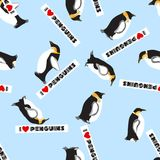 Seamless texture with penguins and a heart Stock Photo