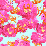 Seamless texture of peonies and lilies Stock Photo