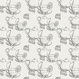 Seamless texture with a picture of a tea set with cake Stock Photo