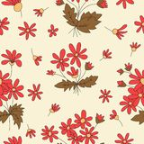 Seamless texture with pictures of flowers. Beige, red flowers, brown leaves Royalty Free Stock Photography