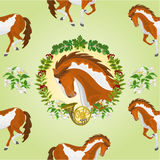 Seamless  texture piebald horse vector. Seamless  texture piebald horse head of stallion leaves and french horn hunting theme vector  illustration Royalty Free Stock Photo