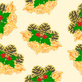 Seamless texture pine cones and holly vector Royalty Free Stock Image