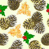 Seamless texture pine cones and holly vector Stock Photography