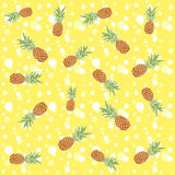Seamless texture with pineapples on yellow. Vector background Royalty Free Stock Photo