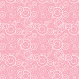 Seamless texture of pink circles and flowers Royalty Free Stock Photo