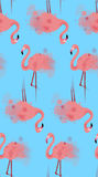 Seamless texture of pink flamingos with watercolor splashes Stock Photography