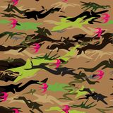 Seamless texture with pink flying swallow. stock illustration
