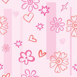 Seamless texture of pink hearts and flowers Royalty Free Stock Photos