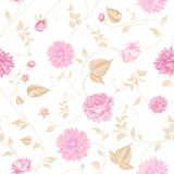 Seamless texture of pink roses for textiles Royalty Free Stock Images
