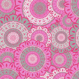 Seamless texture with pink round mandalas to print Royalty Free Stock Image