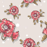 Seamless texture of poppies on a beige background Royalty Free Stock Photography