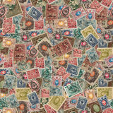 Seamless Texture of Postage Stamps. Seamless Tileable Texture of  Vintage Russia Postage Stamps. Varicolored Collage of Stamps Stock Image