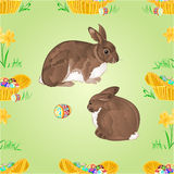 Seamless texture rabbits  and easter eggs vector Royalty Free Stock Photo