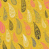 Seamless texture with rain drops on a yellow background. Ornamental drops. Colorful abstract background. Bright colors. Vector ill Royalty Free Stock Photo