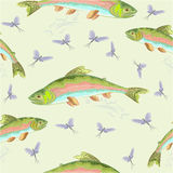 Seamless  texture rainbow trout vector Stock Photo