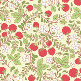 Seamless texture with raspberry and green leaves Royalty Free Stock Image